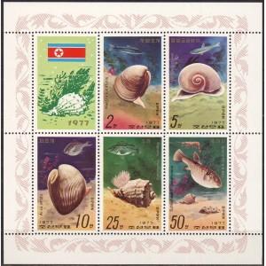 Põhja-Korea - merekarbid ja kalad 1977, **