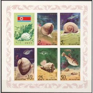 Põhja-Korea - merekarbid ja kalad 1977, lõig. **