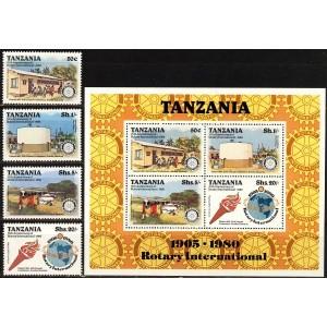 Tansaania - 75 a. Rotary Klubi ületrükk 1980, **