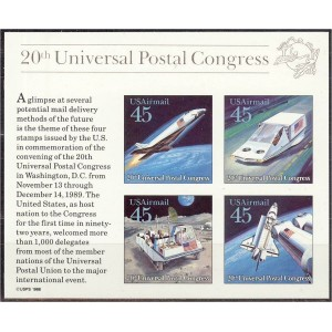 USA - kosmos, UPU kongress 1989, **