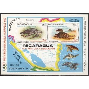 Nicaragua - Moskva 1980, kilpkonnad, **