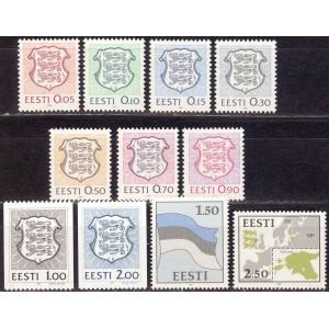 Eesti - 1991 Eesti vapp, lipp, maakaart, **