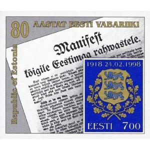 Eesti - 1998 Eesti Vabariik 80, plokk **