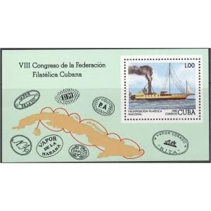 Kuuba - 8. postmarginäitus, purjelaev 1982, **