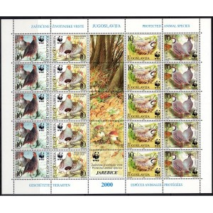 Jugoslaavia - linnud WWF 2000, väikep.**
