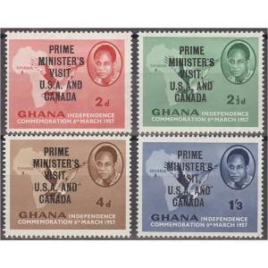Ghana - linnud ja maakaart 1958, ületrükk **