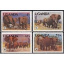 Uganda - loomad WWF, elevandid 1983, **