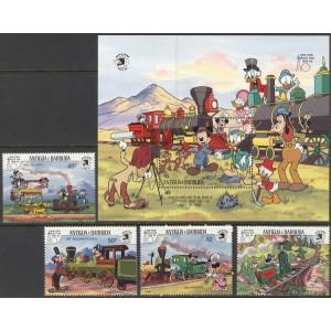 Antigua ja Barbuda - Disney ja rongid 1989, **
