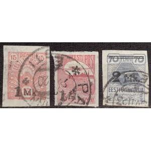Eesti 1920, 1Mk ja 2Mk ületrükk (I), templiga