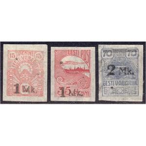 Eesti 1920, 1Mk ja 2Mk ületrükk (I), liimikuga *