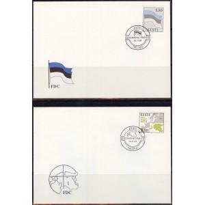 1991 Eesti lipp ja kaart, FDC puhas